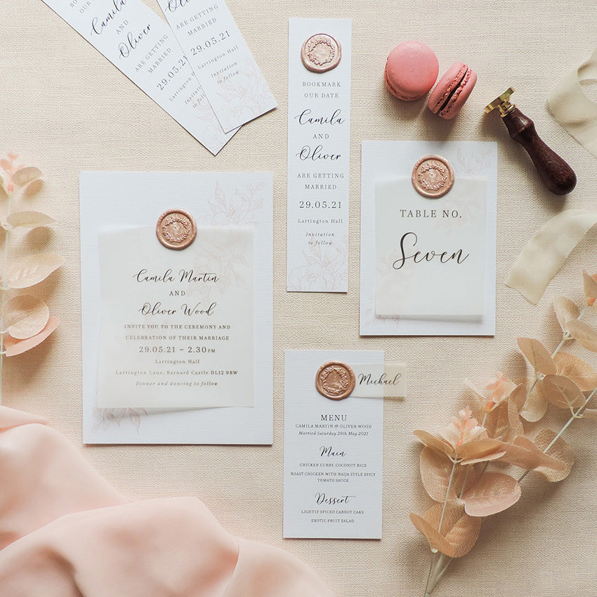Luxury wedding invitation set with rose gold wax seal