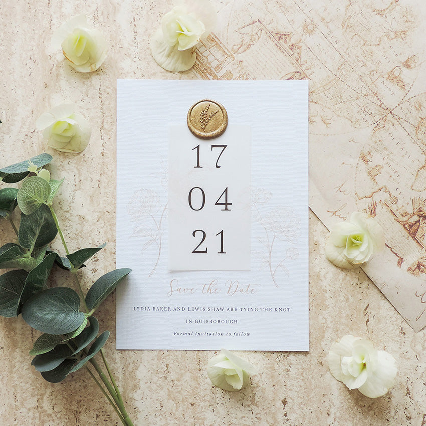 Luxury save the date card with wax seal
