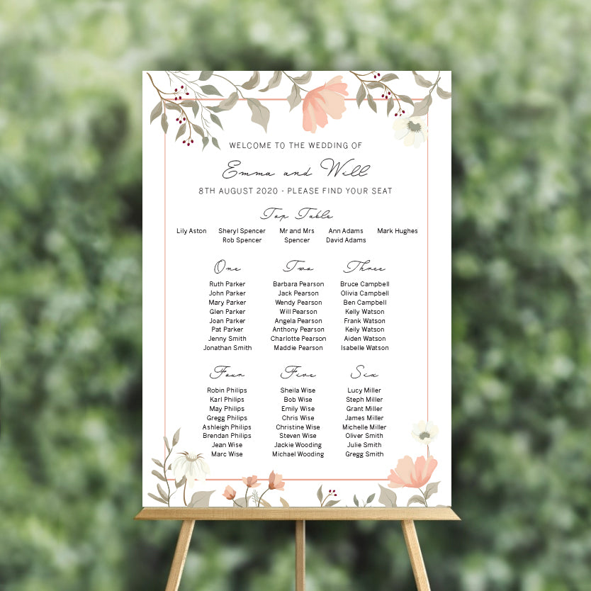 Wedding table plan bespoke design service