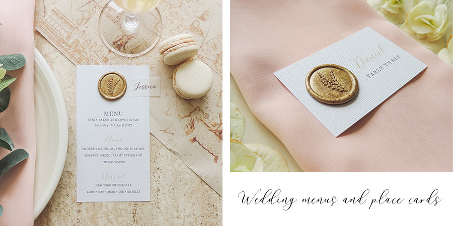 Luxury wax seal wedding menus and place cards