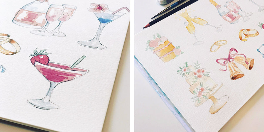 Wedding cake and cocktail watercolour illustrations for order of service