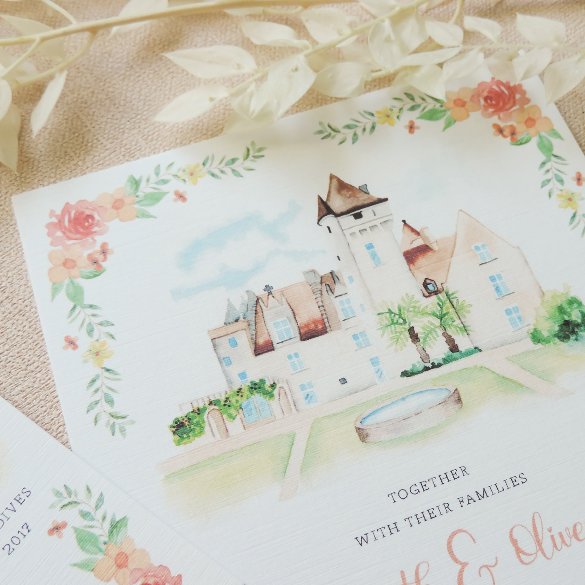 Amelia Illustrated Love Story Wedding Invitations