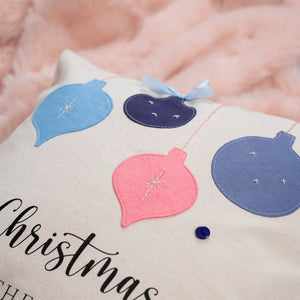Embroidered Bauble Christmas Cushion
