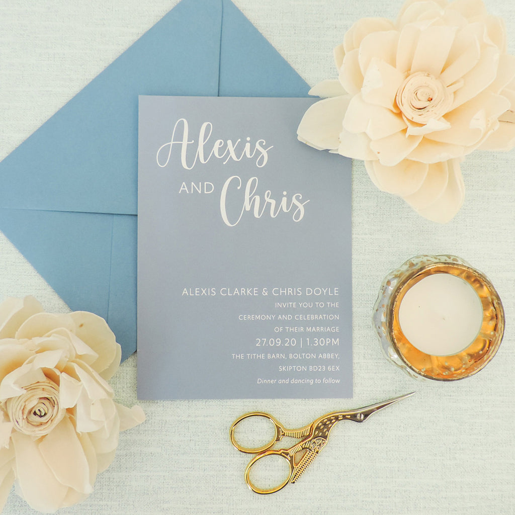 Blue Wildflower Wedding Invitations