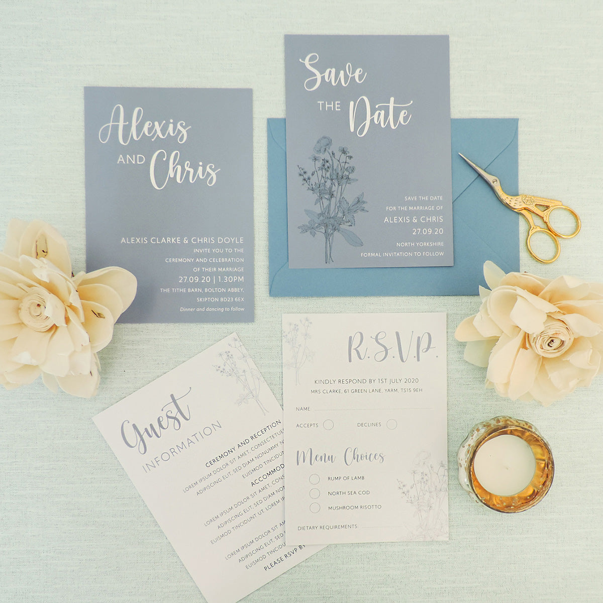 Blue Wildflower Save The Date