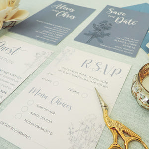 Blue Wildflower RSVP Card