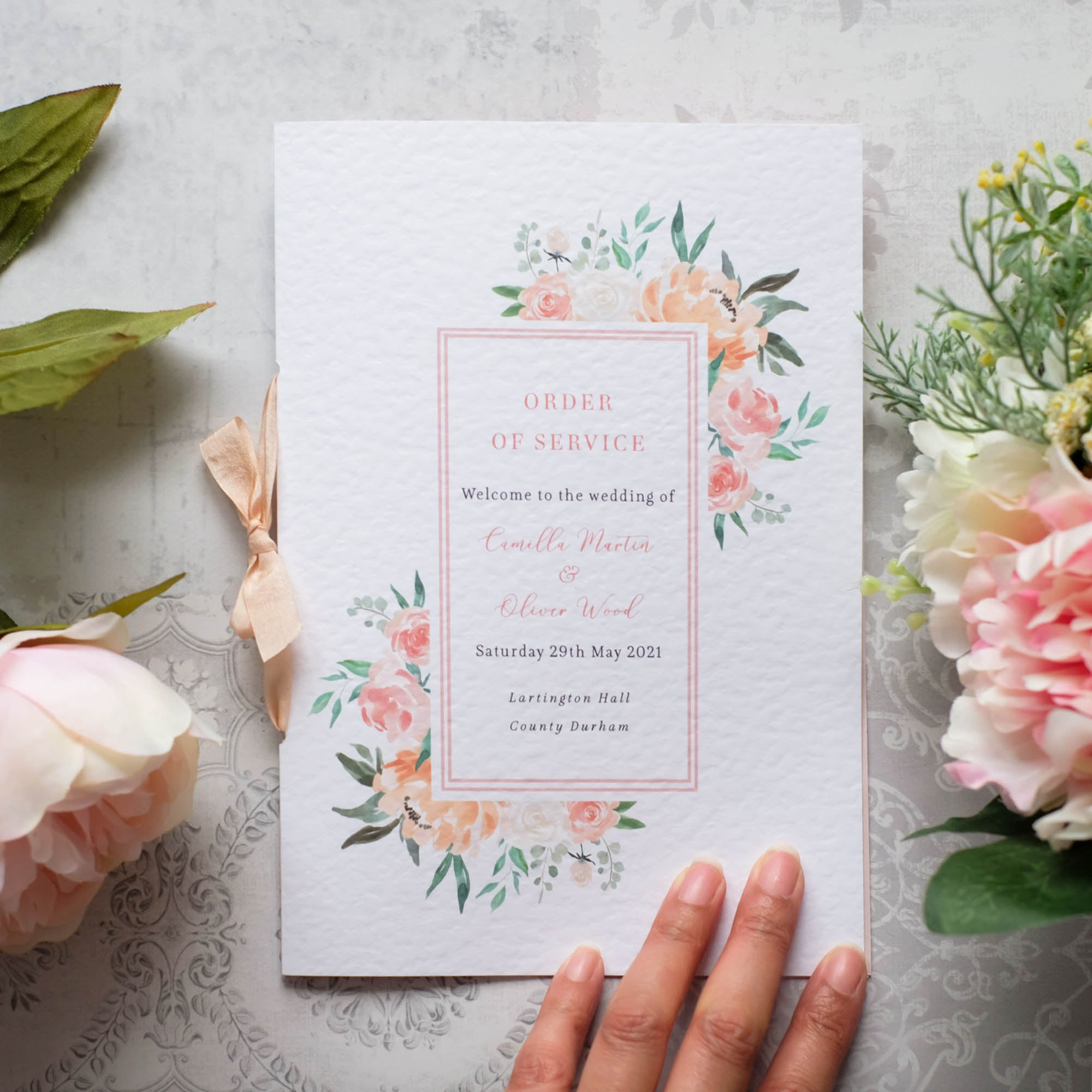 Order of Service with Watercolour Peonies