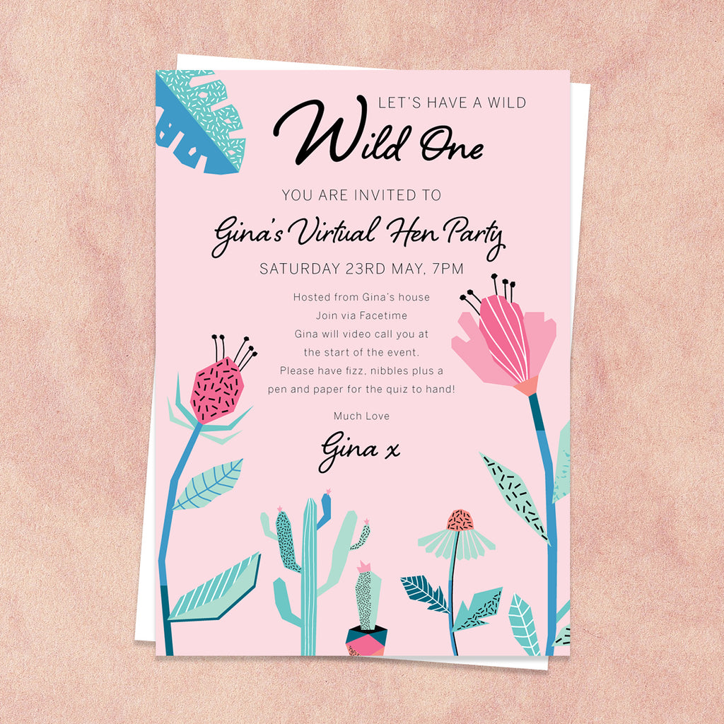 Cactus Virtual Hen Party Invitation