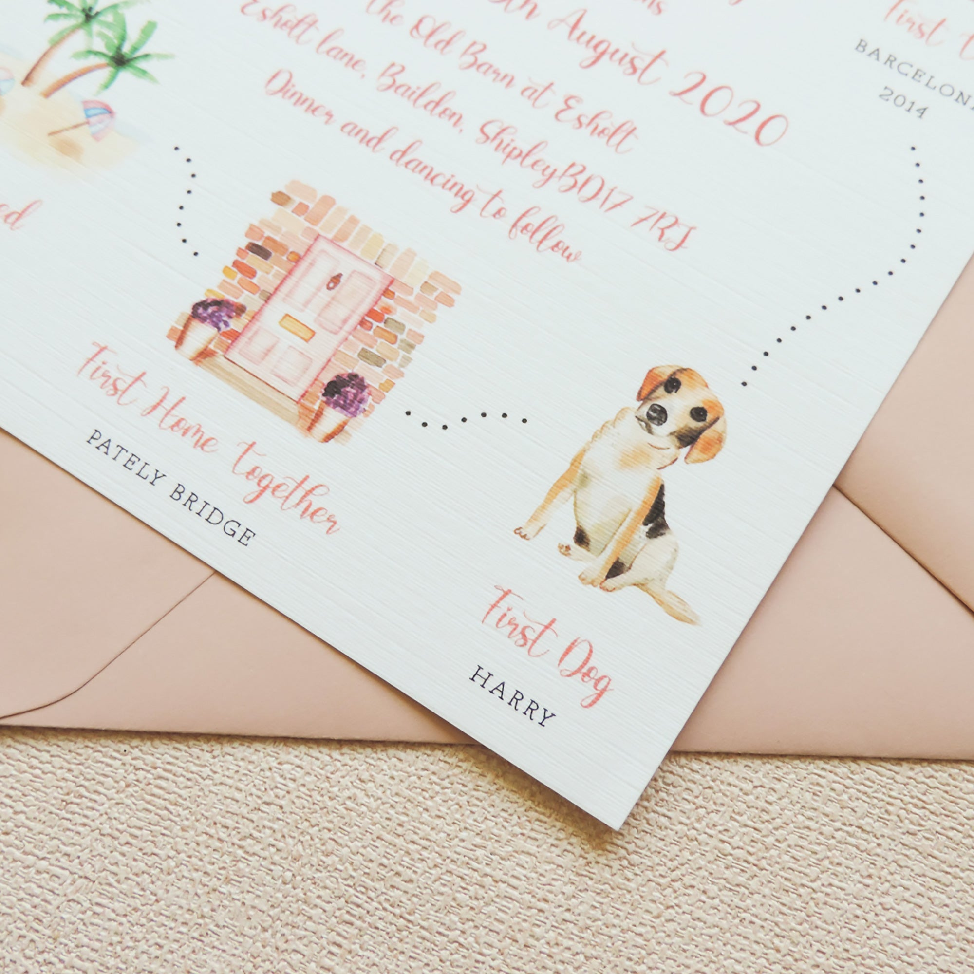 Carly Illustrated Love Story Wedding Invitations