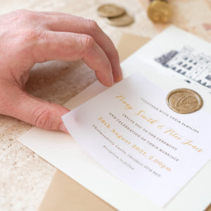 Castle Wedding Invitation, Betulla and Gold