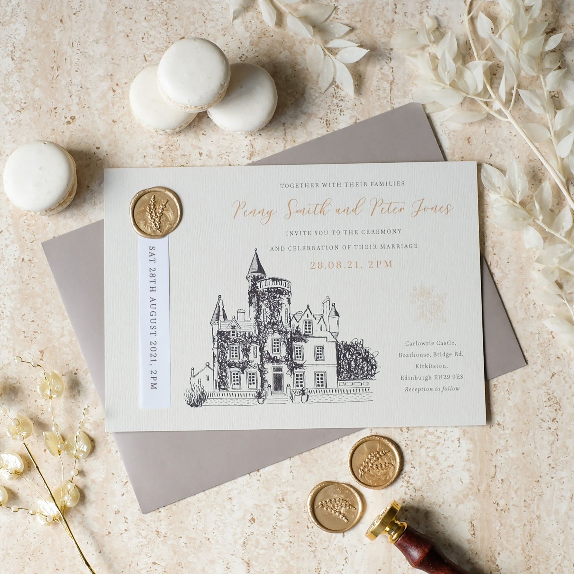 Castle Wedding Invitation, Champagne & Cashmere
