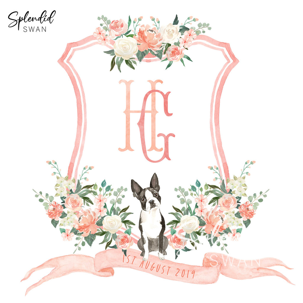 Watercolour Wedding Crest With Dog Illustration
