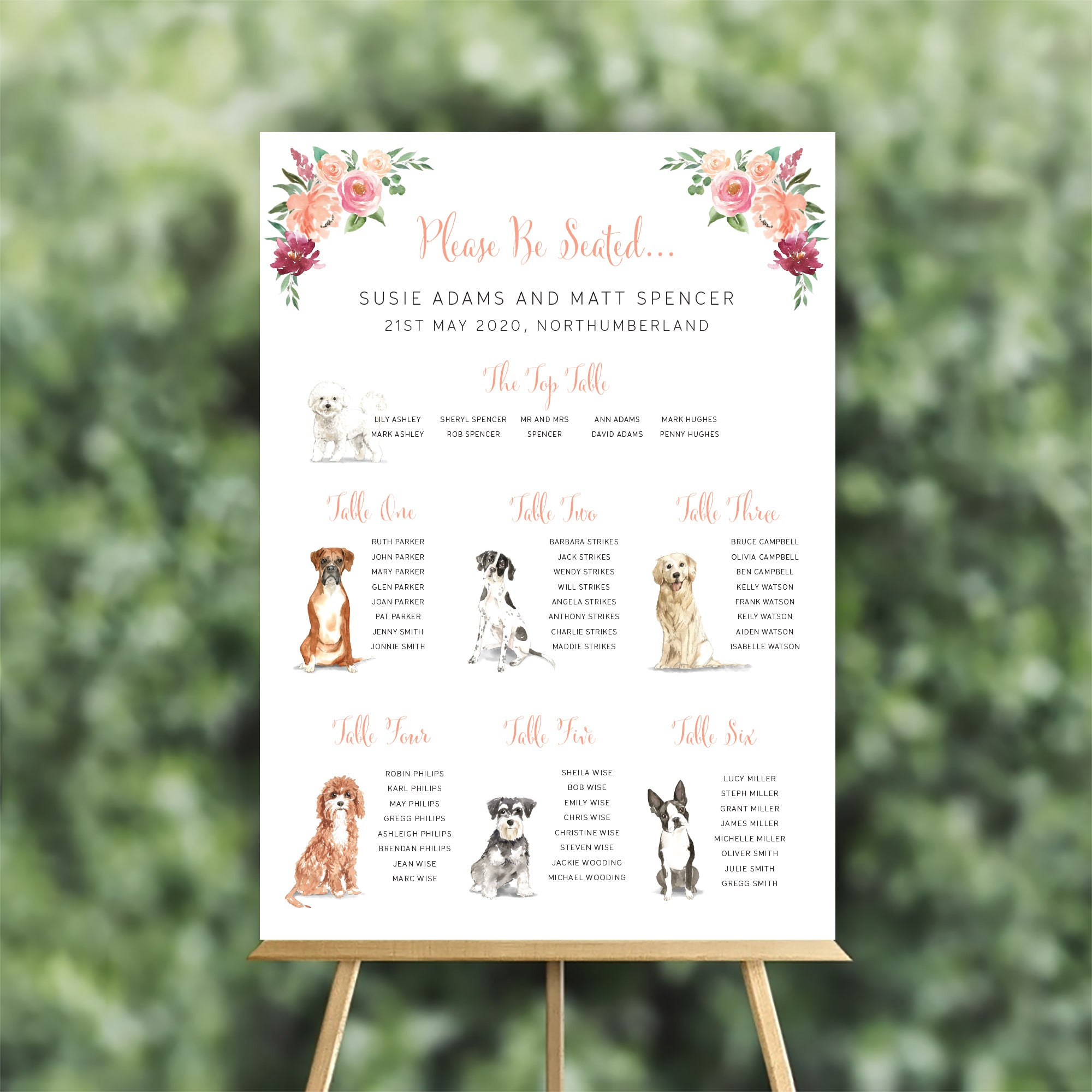 Illustrated Dogs Table Plan