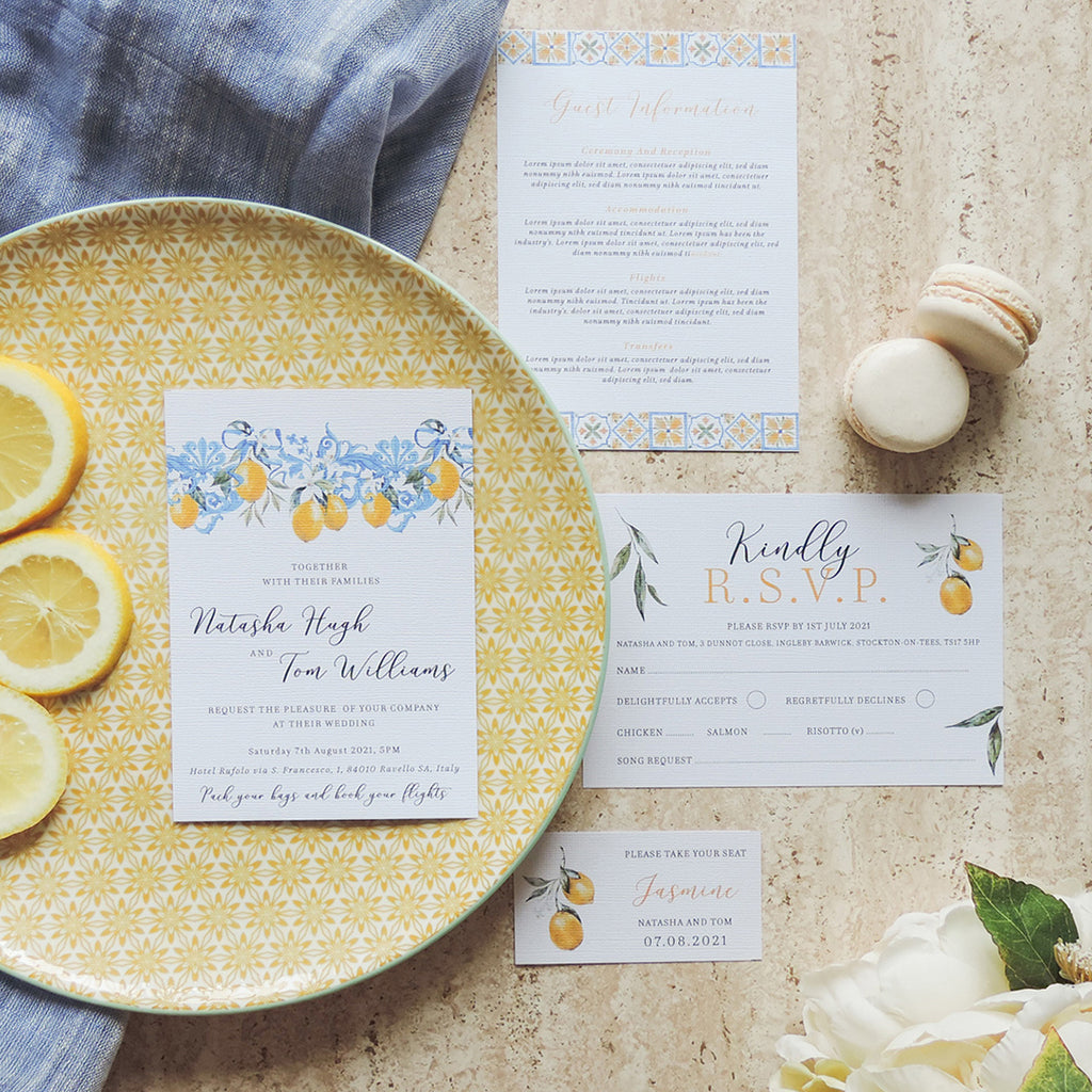 Essence of Italy Lemon Wedding Invitations