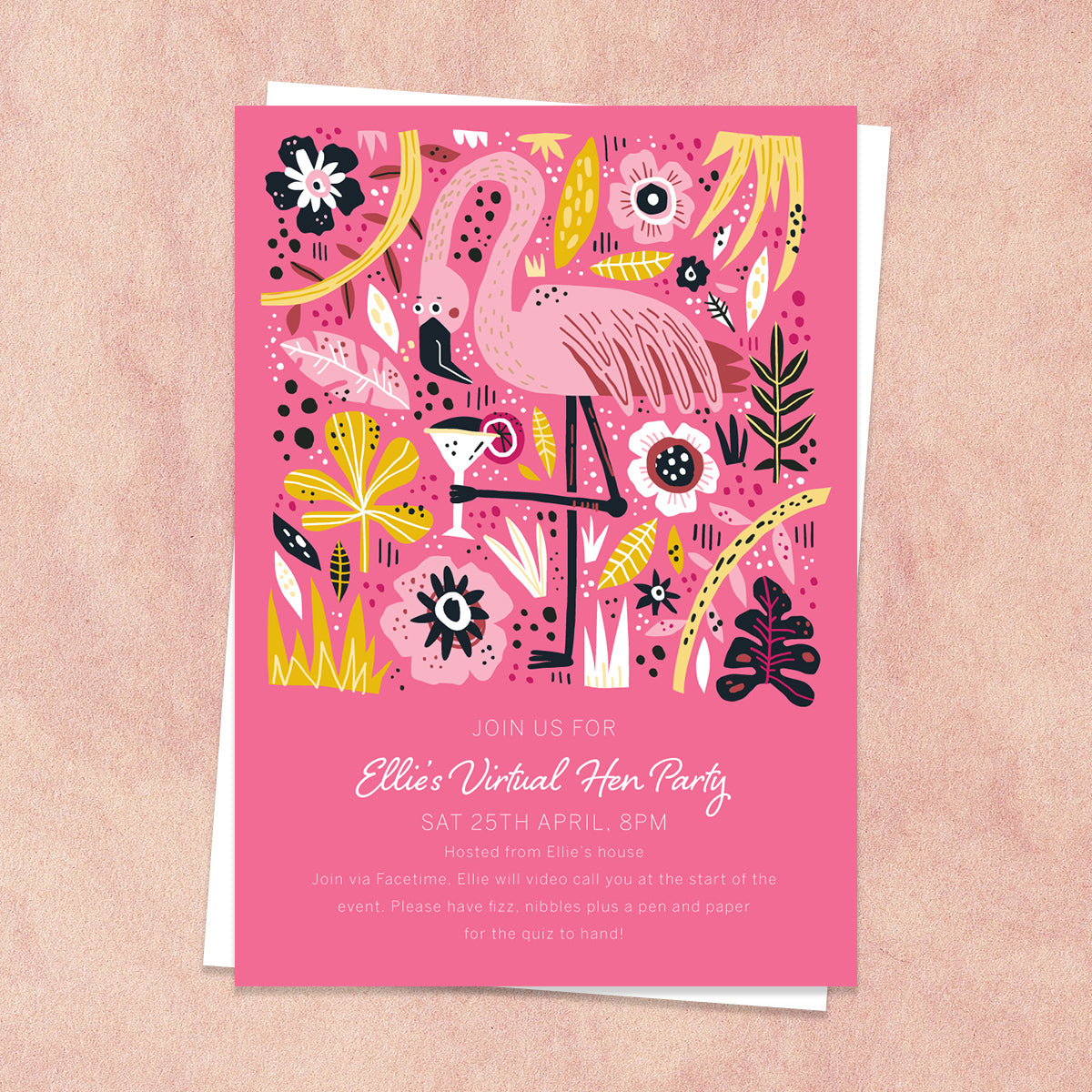 Flamingo Virtual Hen Party Invitation
