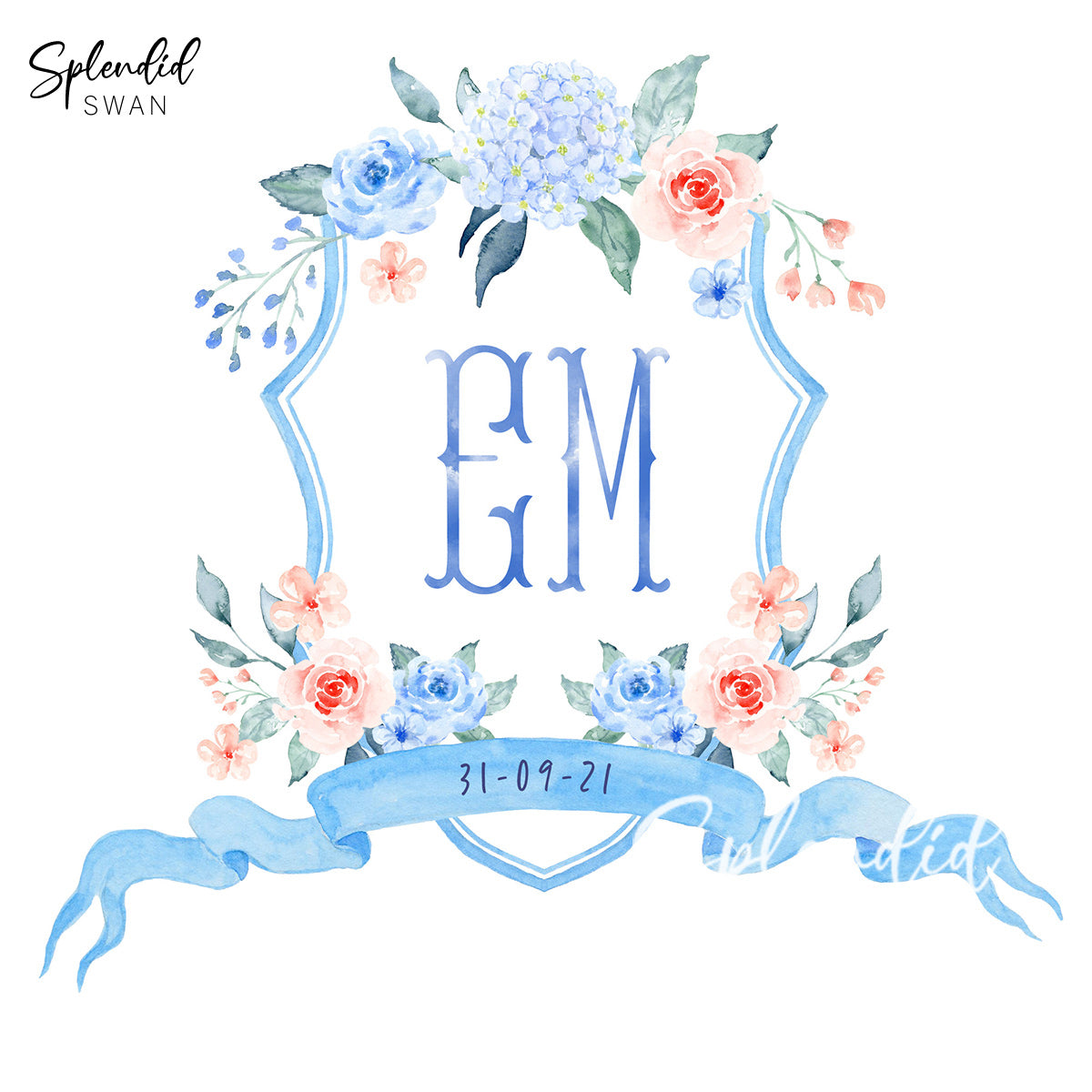 Floral Watercolour Wedding Crest