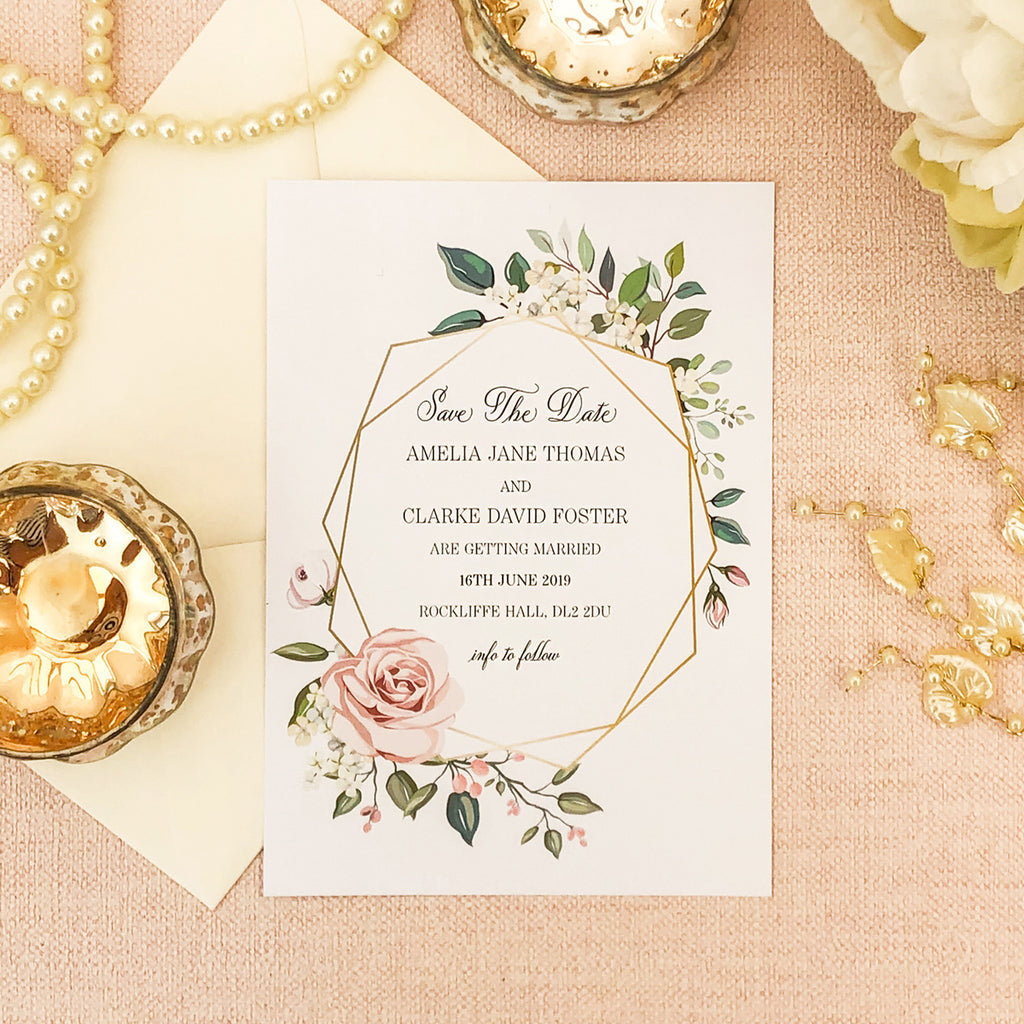 Geometric Rose Save The Dates
