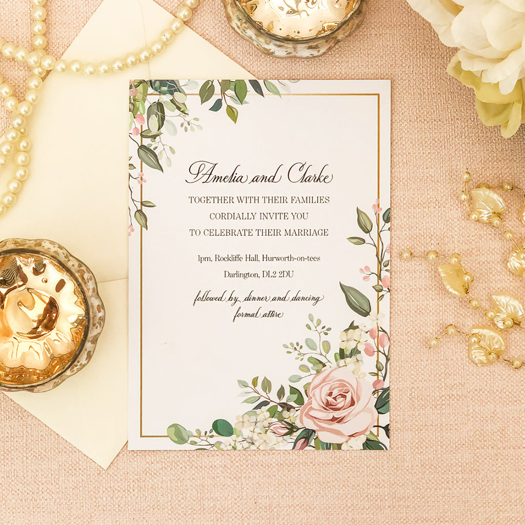 Geometric Rose Wedding Invitations