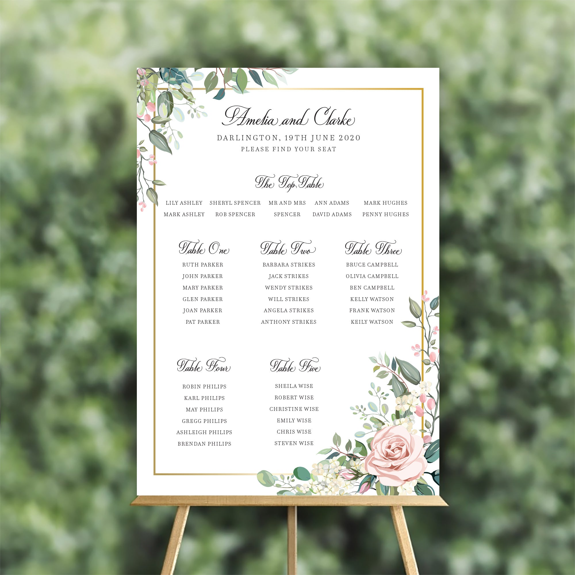 Geometric Rose Table Plan