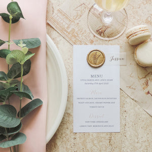 Gold Splendour Wedding Table Menu