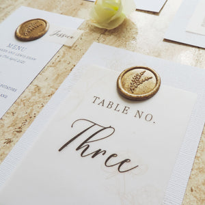 Gold Splendour Wax Seal Table Number