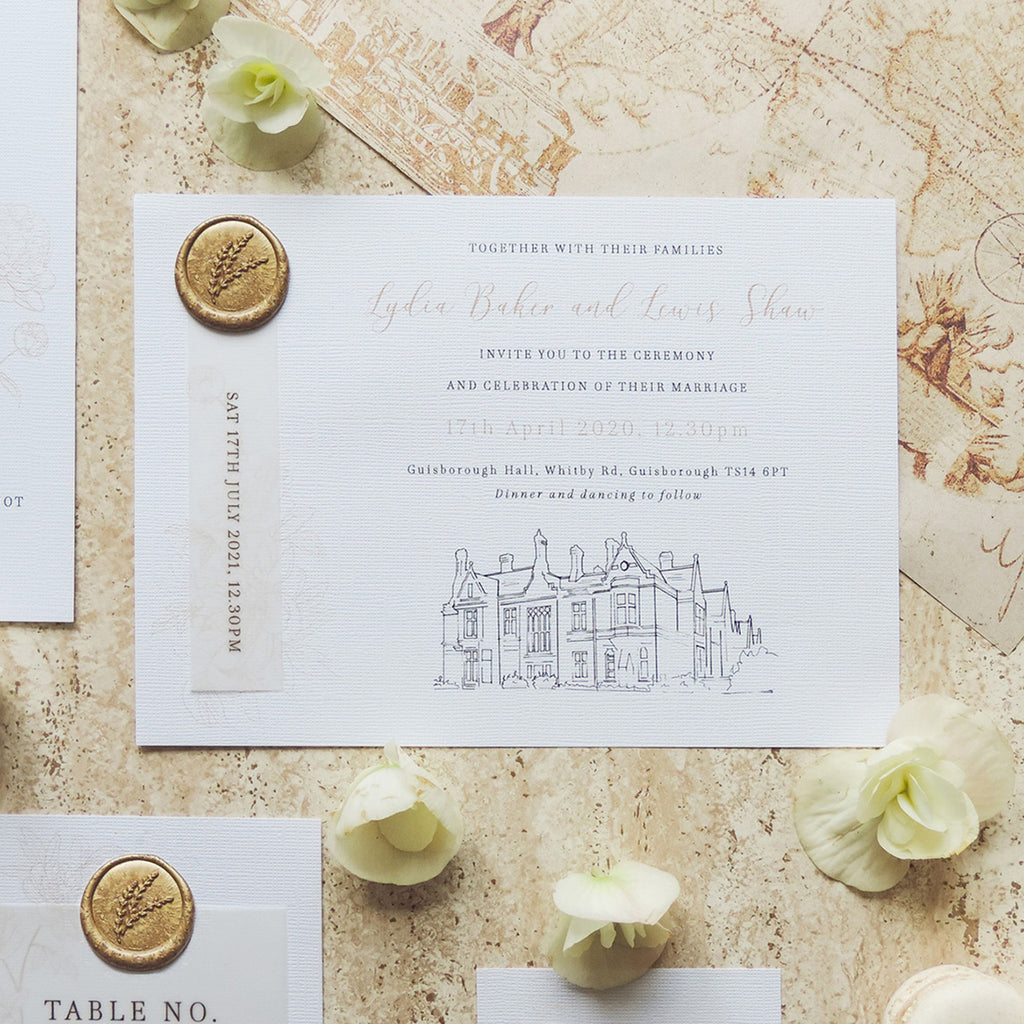 Gold Splendour Wax Seal Invitation with Venue Drawing