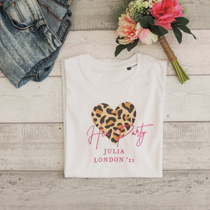 Leah Personalised Leopard Print Hen Do Tee (White)