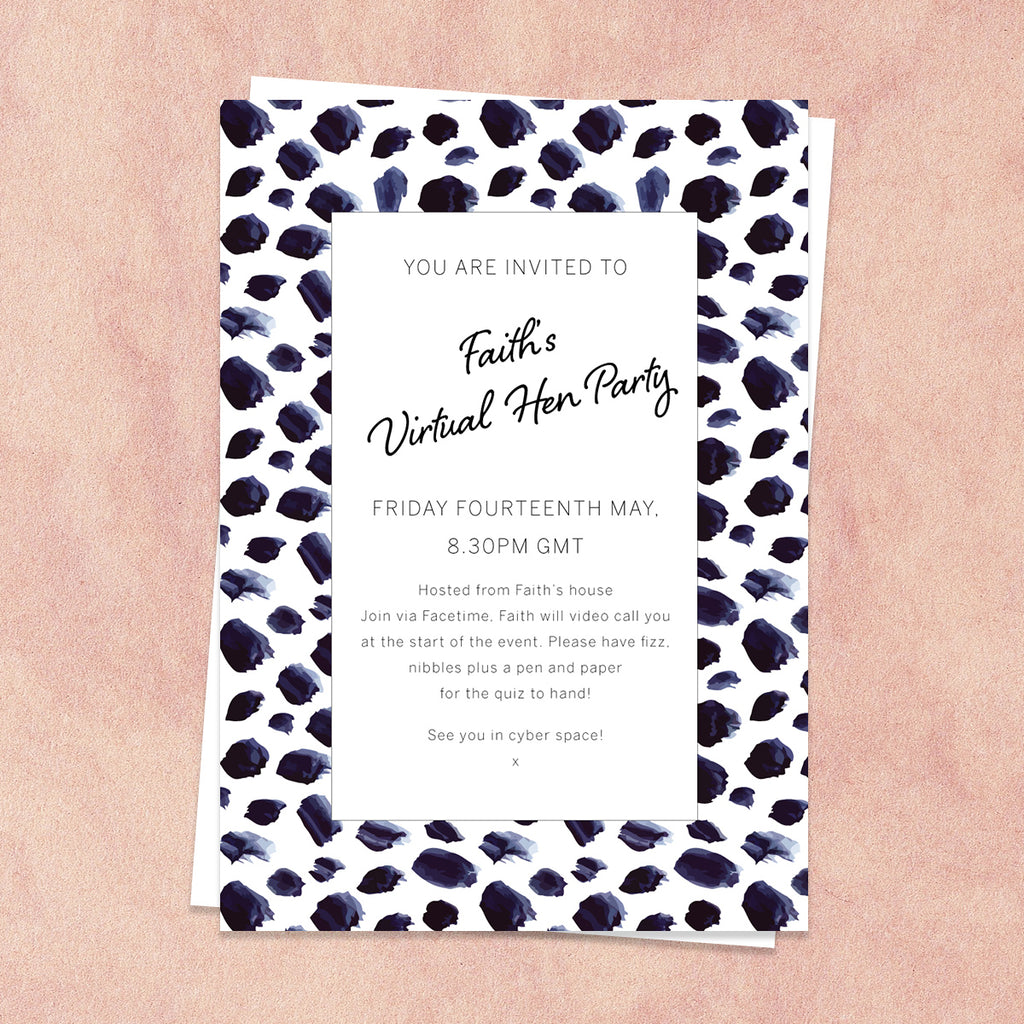 Leopard Print Virtual Hen Party Invitation