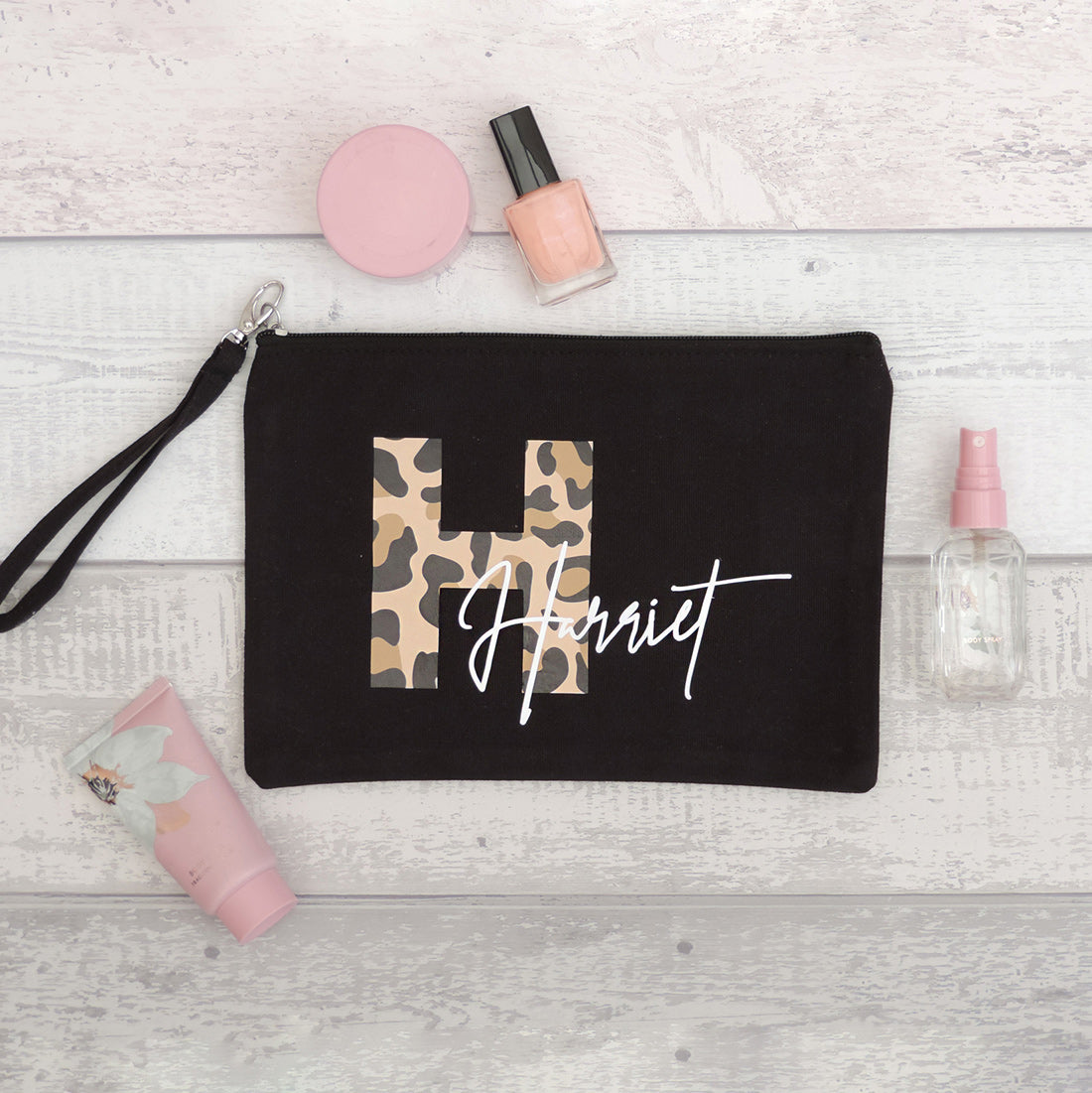 Lillian Personalised Leopard Print Makeup Bag (Black)