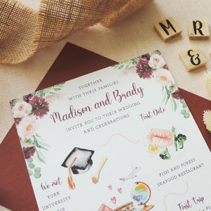 Madison Illustrated Love Story Wedding Invitations
