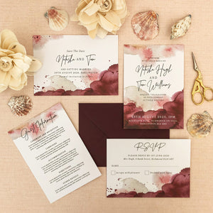 Maroon Watercolour Wedding Invitations