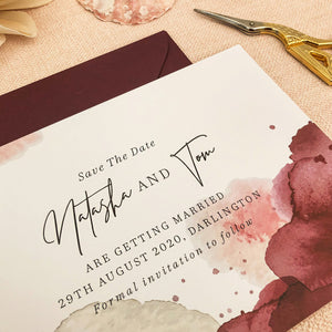Maroon Watercolour Save The Date