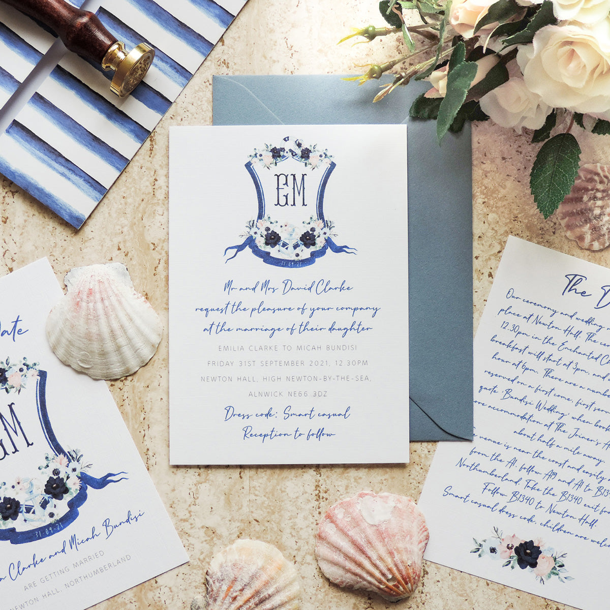 Nautical Crest Wedding Invitations