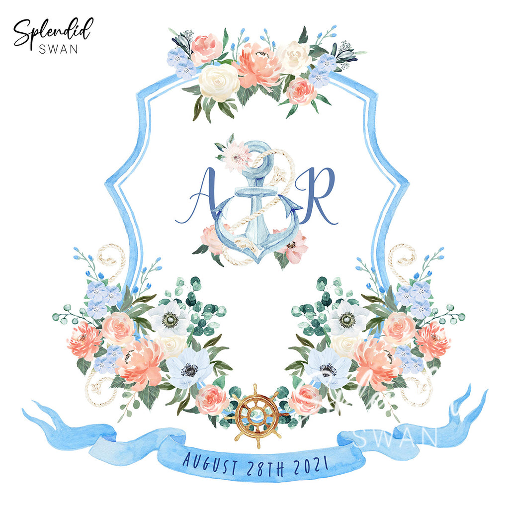 Nautical Watercolour Wedding Crest