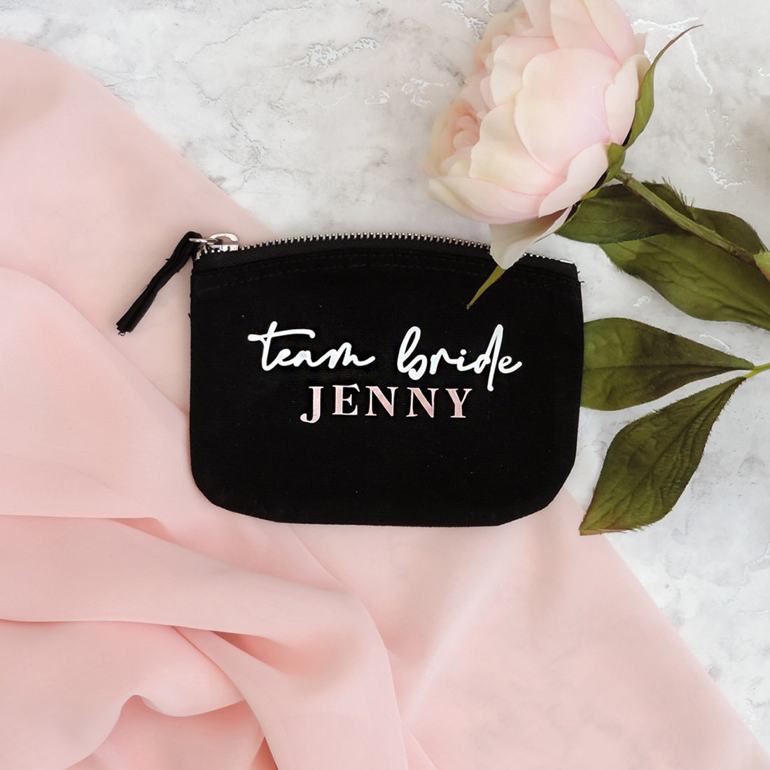 Nova Personalised Bridesmaid Coin Purse (Black)