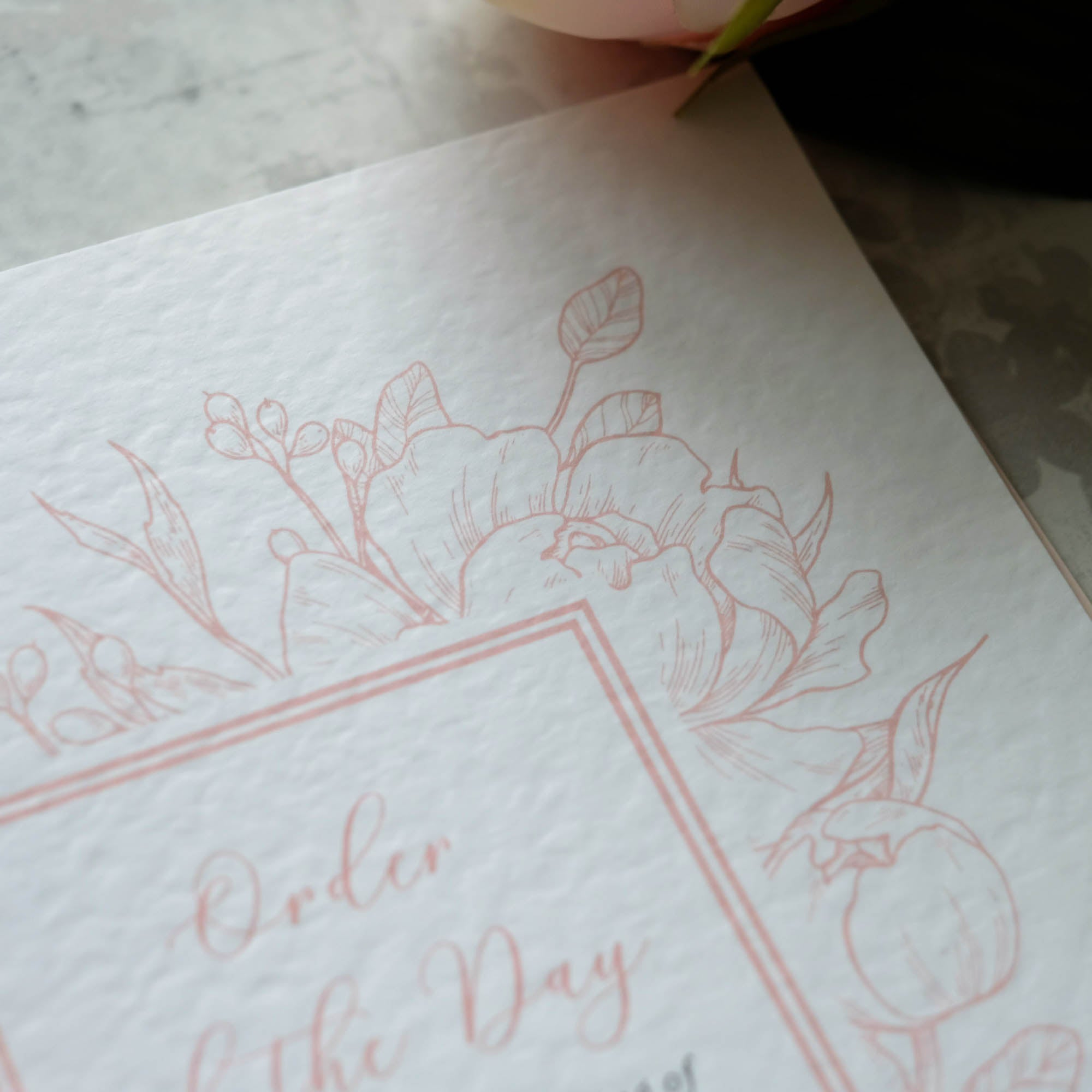 Order of Service with Peonies Illustration