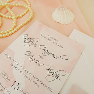 Pink Watercolour Wedding Invitations