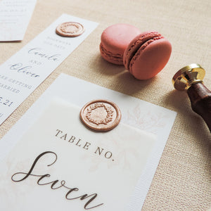 Rose Opulence Wax Seal Table Number