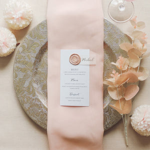 Rose Opulence Wedding Table Menu