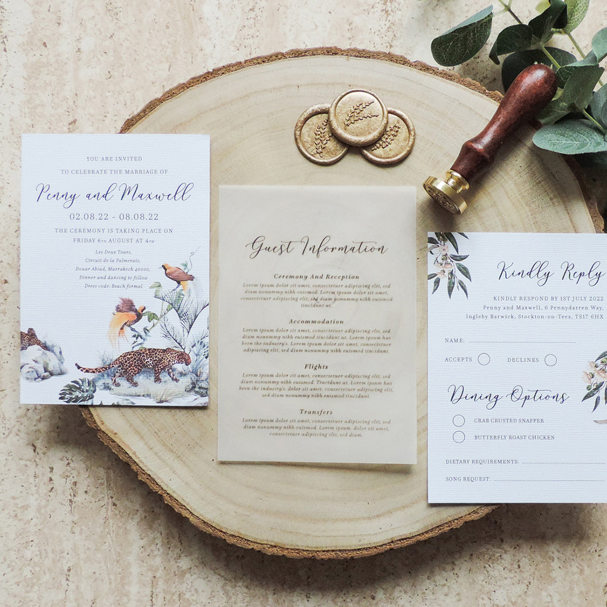 Vellum Wedding Guest Information Card