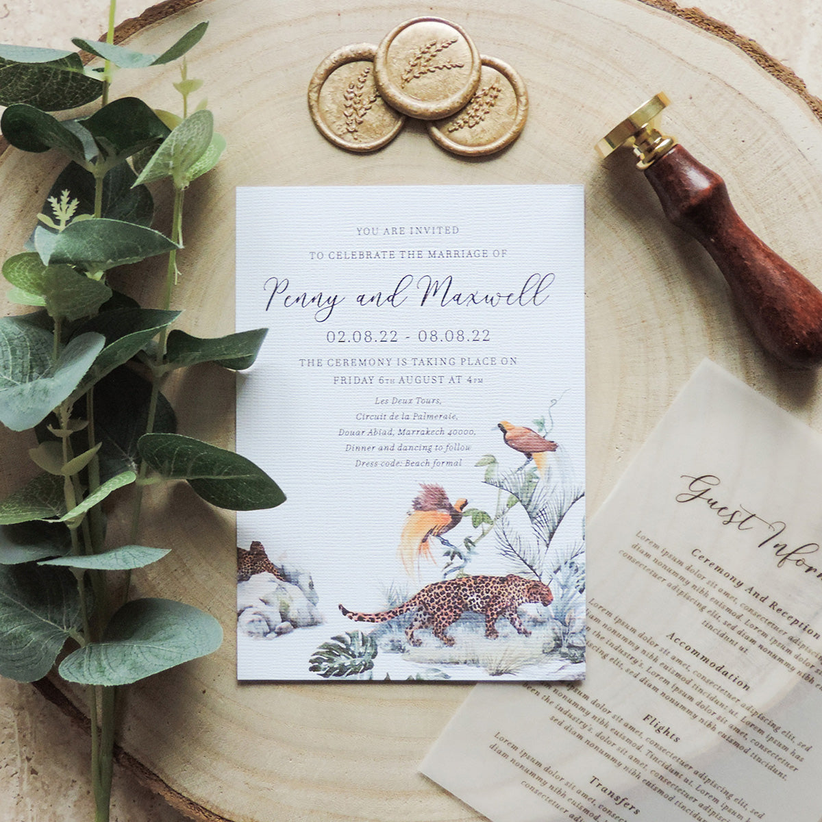 African Safari Wedding Invitations