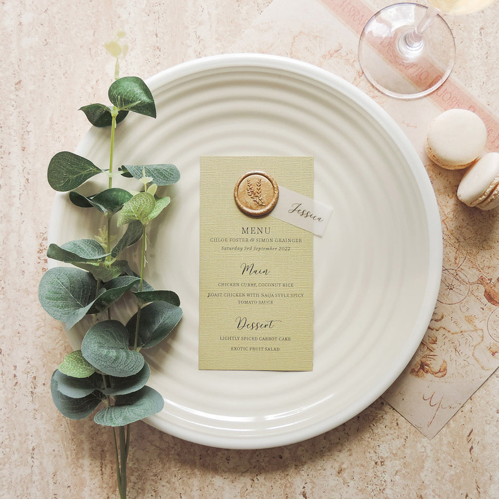 Antique Gold Wedding Table Menu