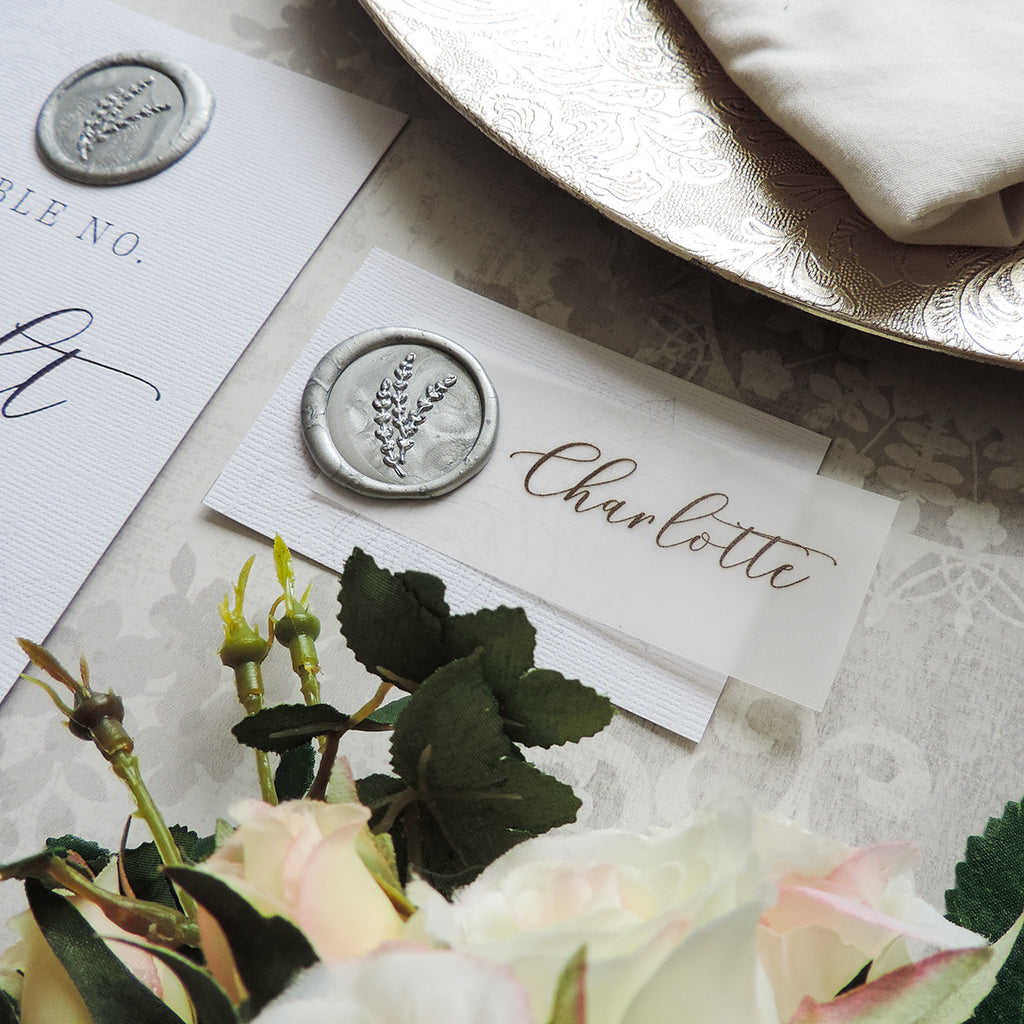 Silver Elegance Wax Seal Place Card