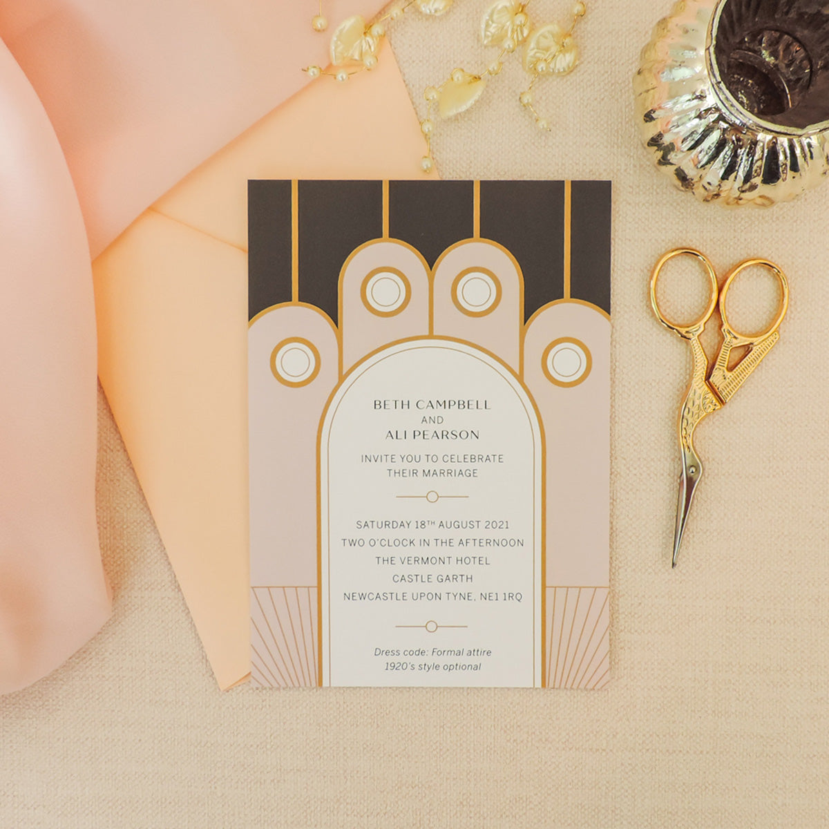 Speakeasy Art Deco Wedding Invitations