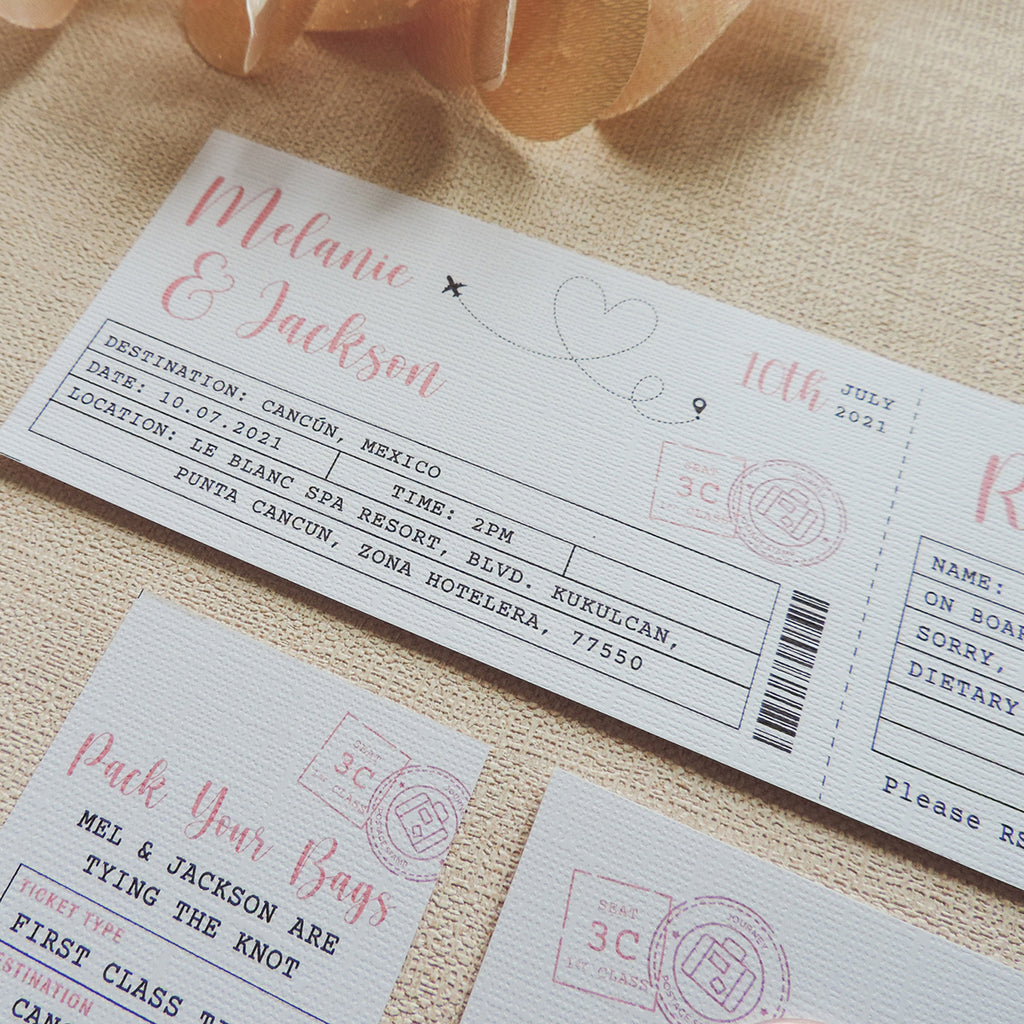 Ticket Destination Wedding Invitations