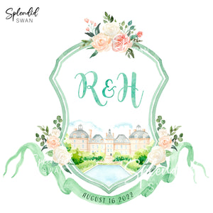 Watercolour Wedding Crest with Venue Illustration