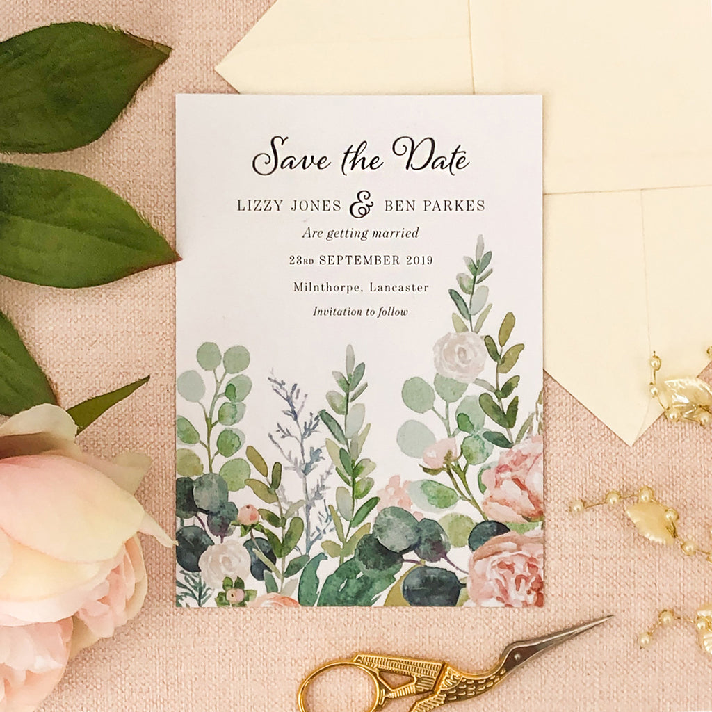 Watercolour Eucalyptus Save The Date Card