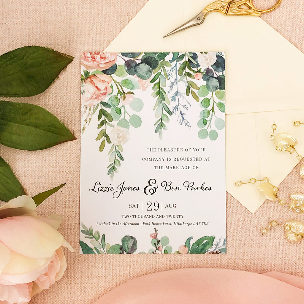 Watercolour Eucalyptus Wedding Invitations
