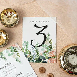 Watercolour Eucalyptus Table Numbers