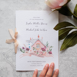 Pink Order of Service with Venue Illustration